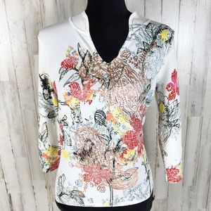 Alberto Makali Long Sleeve Abstract Floral Tee Top